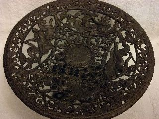 Vintage Art Deco Cast Iron Emig Dish Bowl Pedestal Neptune Dolphins Greek Gods photo