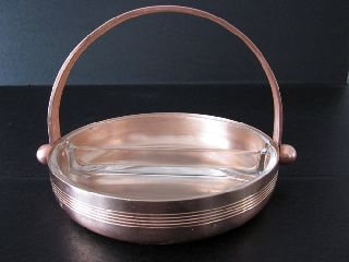 Art Deco Vintage Chase Copper Divided Relish Dish photo