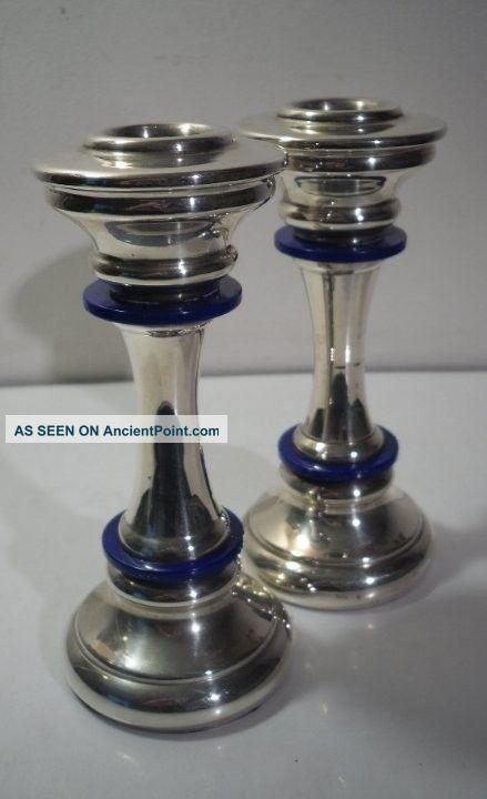 A Pair Of Art Deco Silver Candlesticks : Italy C1935 Candlesticks & Candelabra photo