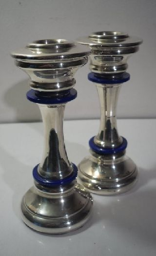 A Pair Of Art Deco Silver Candlesticks : Italy C1935 photo