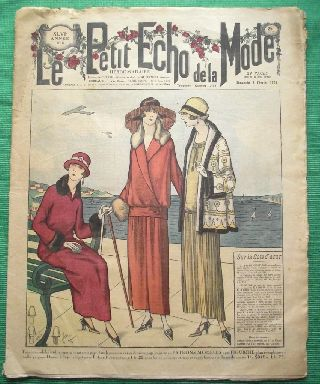 C1924 Art Deco Jazz Era French Fashion Newspaper N11 photo