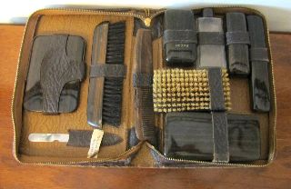 Gentleman ' S Antique Grooming Set In Leather Zip Case 10pc Set 1940 photo