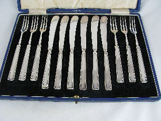 Antique Elkington Silverplated Art Deco Small Knife & Fork Set Tea/fruit/dessert photo