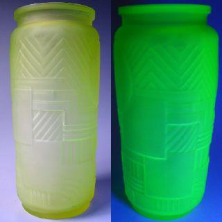 French Art Deco Geometri Uranium Vaseline Glass Frosted photo