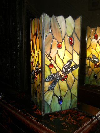 Art Deco Dragonfly Tiffany Stained Glass Table Lamp photo
