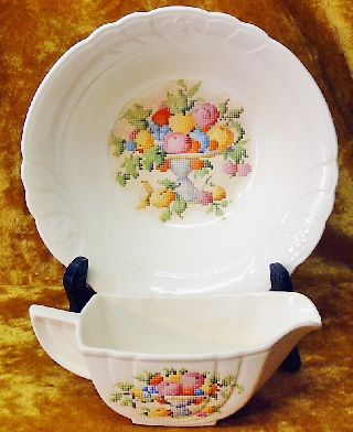 Antique Art Deco The Mode Petit Point Pattern Bowl & Gravy By Crown Potteries photo