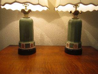 Pair Of Art Deco Hand Painted Ceramic Lamps photo