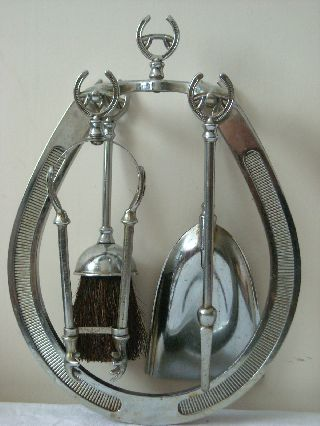 1940 ' S Chrome Horseshoe Shaped Hanging Fireside Companion Set With Tools photo