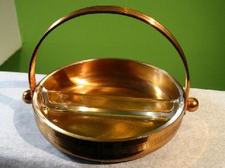 Chase Art Deco Von Nessen Copper Glass Dish Tray photo
