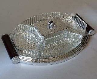 Full Art Deco Machine1930th Has New Tray Glass Containers Polished Metal 38x26cm photo