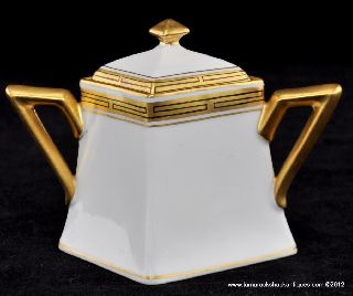 C1905 - 10 Pickard Delinieres France Hp Black Gold Art Deco Sugar Bowl & Lid 6638 photo