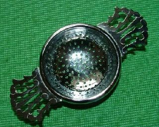 C1920 Art Deco Chrome Lugged Tea Strainer D photo
