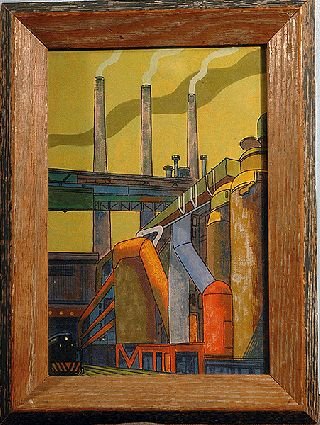Art Deco Intriguing & Wonderful Wpa Watercolor Painting Locomotive At Grainery photo