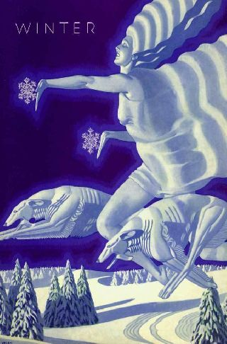 1931 Welsh Four Seasons - Art Deco Poster Winter Hounds Ice Queen Cometh Chil photo