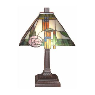 Vintage Retro Art Deco Pink Rose Mackintosh Pyramid Tiffany Glass Table Lamp photo