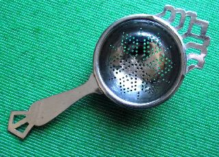 C1920 Art Deco English Lugged Chrome Tea Strainer G photo