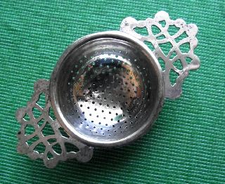 C1920 Art Deco English Lugged Tea Strainer A photo