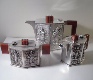 A Rare Art Deco Indian Silver Tea Service : C1930 photo