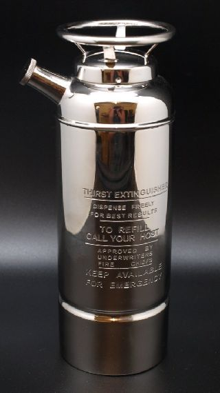 Silver Plated Cocktail Shaker In The Form Of A Fire (thirst) Extinguisher photo