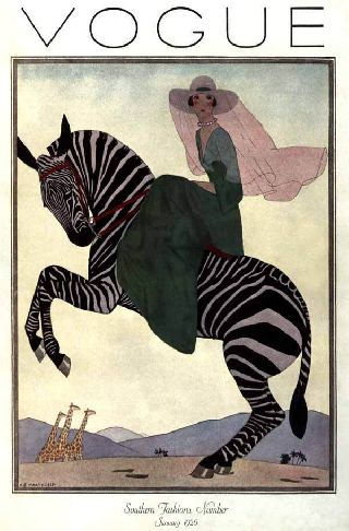 1926 Zebra Riding Fashion Princess Equestrian Style Art Deco Poster photo