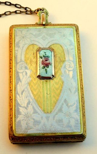 Vintage 1920s 30s Art Deco Enamel Vanity Compact Purse photo