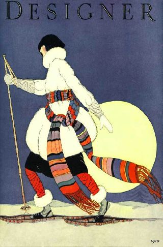 1920 Snowshoe Flapper Winter Fashion Art Deco Poster New Printing photo
