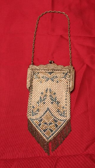 Signed Antique Vintage Mandalian Mfg.  Co.  Enamel Mesh Purse Woven Links Purse photo