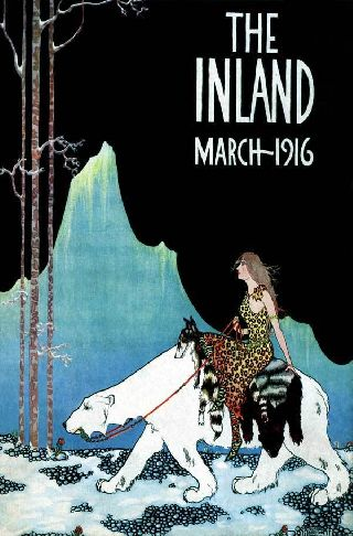 1916 Polar Bear Riding Mountain Iceland Queen Art Deco Poster Leopard Wolf Sk photo