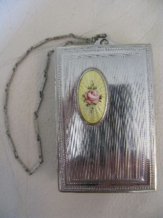Vintage Art Nouveau Deco Silver Yellow Guilloche Purse Double Dance Compact Dfb photo