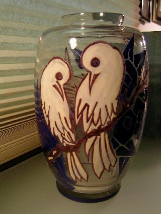 Vintage Art Deco Hand Painted Glass/crystal Vase Birds In Blue /white Signed photo