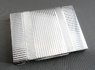 1920s 30s Austrian Art Deco Silver Card Cigarette Case photo
