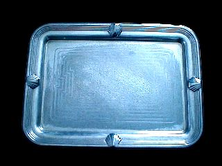 1940 Art Deco Silverplate Ziggurat Sea Shell Nautical Serving Tray Made By Towle photo