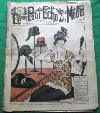 C1924 Art Deco Jazz Era French Fashion Newspaper N6 photo