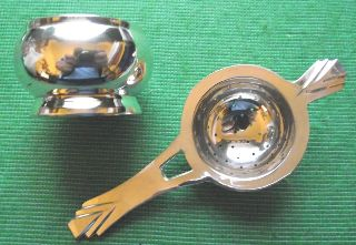 Art Deco Style Silver Plated Tea Strainer & Bowl photo