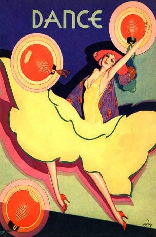 1931 Flamingo Stage Theatre Japanese Lantern Dance Varga Cover Art Deco Poste photo