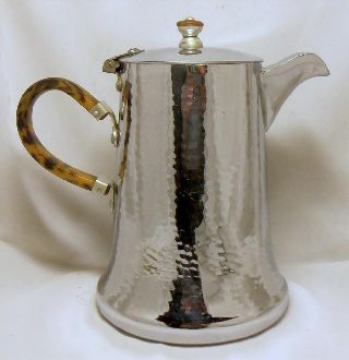 Good 1930s Or 40s Chrome Coffee Pot~spotted Tan & Brown Bakelite ? Handle photo