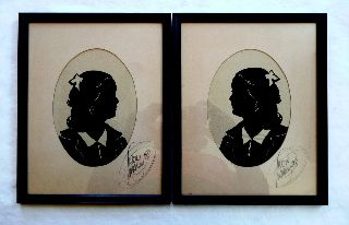 Pair Signed 1938 Art Deco Paper Silhouette Portraits photo