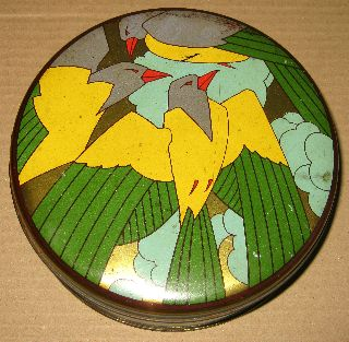 & Rare C1930 Art Deco Stylised Birds Biscuit Tin photo