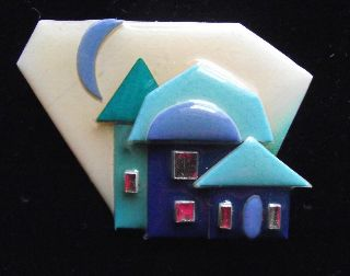 Modernist Art Deco Vintage Plastic Studio Brooch Pin By Lucinda Yates A photo