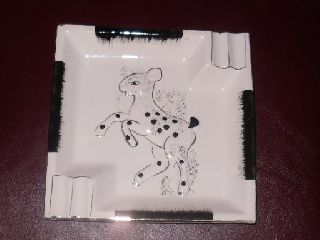 Art Deco Pottery Deer Bambi Black White Gold Ashtray photo