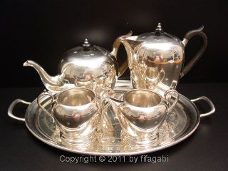 Art Deco Tea Coffee Set Cooper Brothers Silver Pot Uk photo