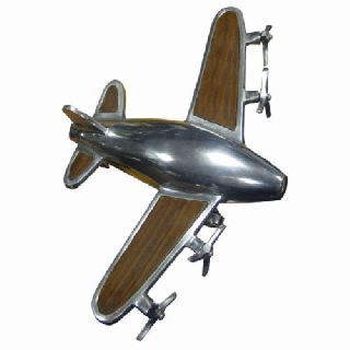 Art Deco Vintage Chrome & Wood Old Fashioned Plane Figurine Statue Nostalgic photo