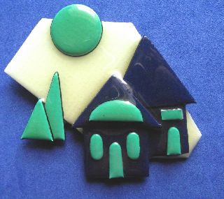 Modernist Art Deco Vintage Plastic Studio Brooch Pin By Lucinda Yates E photo