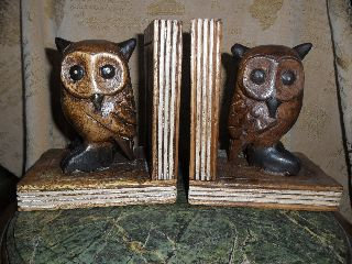 Vintage Carved Art Deco Solid Wood Owl Bookends Statue Figuer Sculpture photo