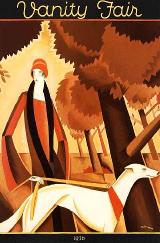 1926 Fall Fashion Fest Flaxen Flapper Art Deco Poster photo