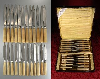 "Vintage French Art Deco Silver & Horn Knives,  Stamped ""cardony,  Bordeaux"",  24 Pc photo"