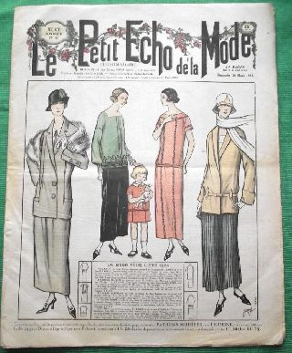 C1924 Art Deco Jazz Era French Fashion Newspaper N12 photo