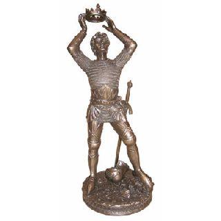 Art Deco Vintage Painted Bronze King Arthur Statue Figure Sculpture photo