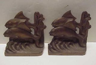 Rare Antique 1925 Hubley Two Fish Art Deco Cast Iron Bookends photo