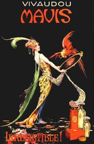 1919 Mavis Perfume Fashion Parrot Queen Art Deco Poster photo